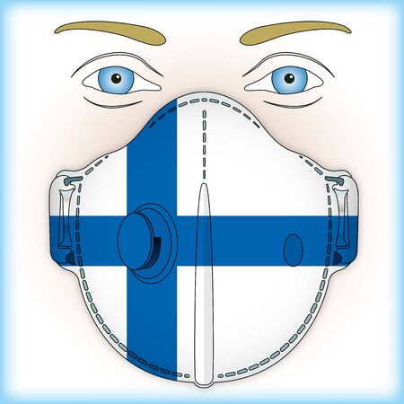 Antiviral mask for anti virus protection with Finland flag, vector illustration