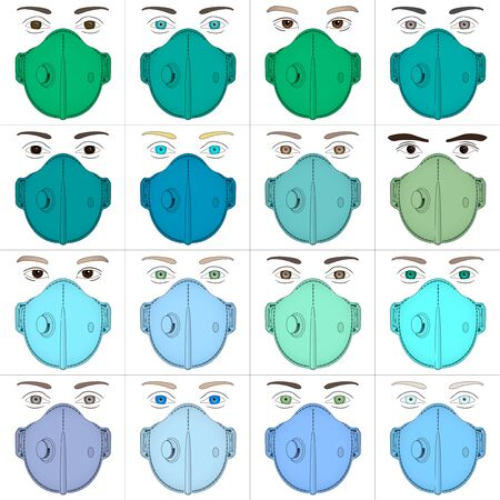 Antiviral surgical masks for anti virus protection with various colors, vector illustration Vettoriali