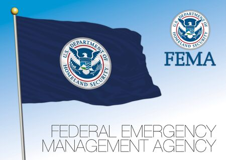 FEMA Federal Emergency Management Agency flag with seal, United States, USA, vector illustration