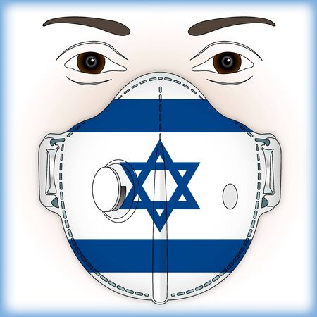 Antiviral mask for anti virus protection with Israel flag, vector illustration