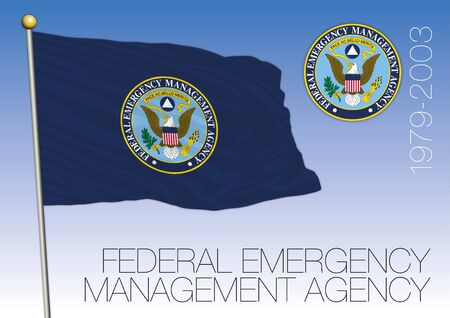 FEMA Federal Emergency Management Agency historical flag with seal, United States, USA, vector illustration Vettoriali