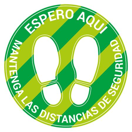 Floor signal for social distancing antivirus, spanish language, vector illustration