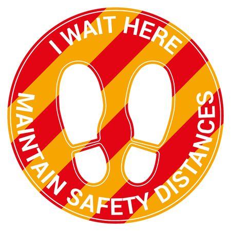 Floor signal for social distancing antivirus, english language, vector illustration