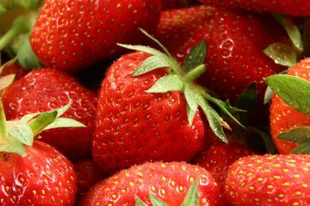 Red summer strawberries, macro photo