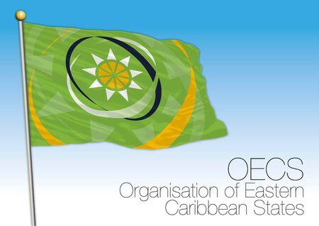 OECS, Organization of Eastern Caribbean States flag and symbol, central american economic organization, vector illustration