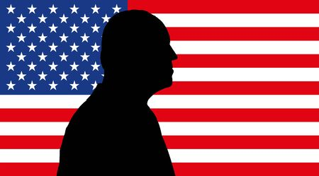 silhouette portrait on the US flag, vector illustration