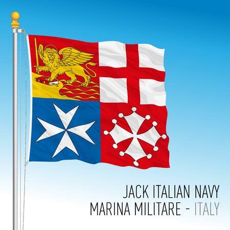 Jack flag of you Italian Navy, Italy, vector illustration Illustration