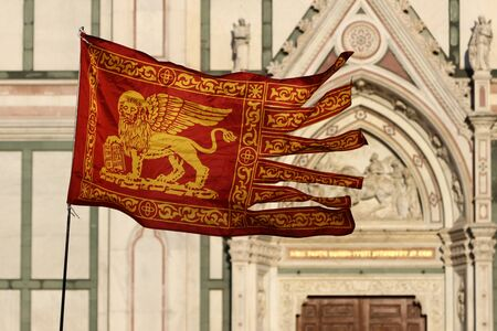 Flag of Venice city in the wind, Italy