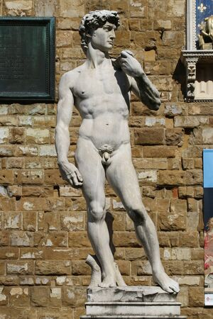 The David of Michelangelo statue in Signoria square, Florence, Italy