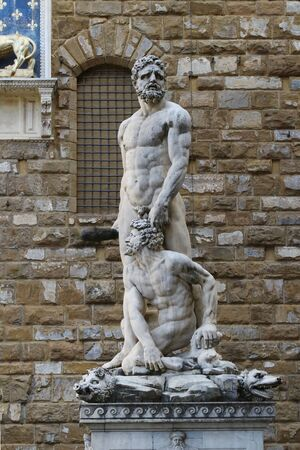 Hercules and Cacus statues sculptures, Signoria square, Florence, Italy