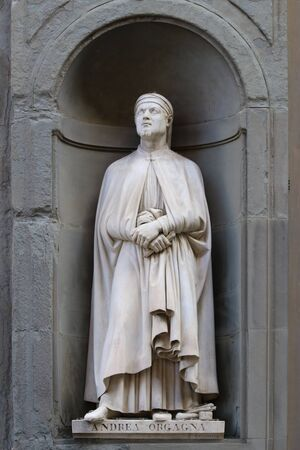 Andrea Orcagna Italian painter, sculptor, and architect statue in the Uffizi outside gallery in Florence, Tuscany, Italy