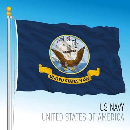 US Navy official flag, United States, vector illustration