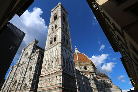 Bell tower of Giotto, Santa Maria in Fiore cathedral, Florence, Italy, famous touristic place Archivio Fotografico