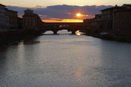 Sunset over Ponte Vecchio (Old Bridge), Florence, Tuscany, Italy, touristic place
