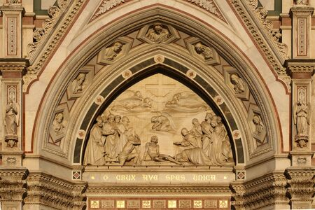 Sculpture details of the facade of the Holy Cross Basilica, Florence, Italy, touristic place Archivio Fotografico