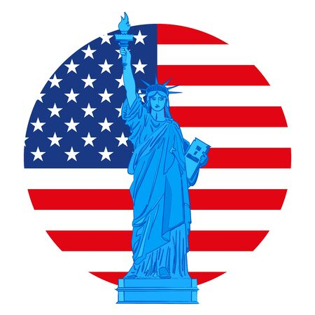 Statue of Liberty on background with American flag, United States, vector illustration