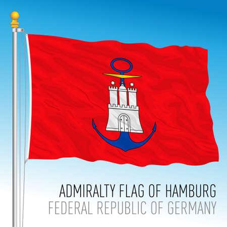 Admiralty flag of Hamburg, Germany, vector illustration Stock Illustratie