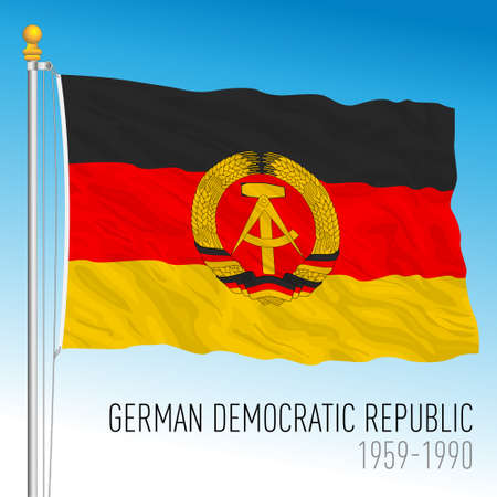German Democratic Republic historical flag, Germany, 1959-1990, vector illustration
