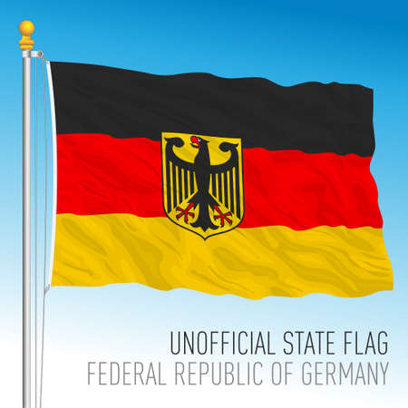 Flag of Germany, unofficial variant with coat of arms, vector illustration Vettoriali