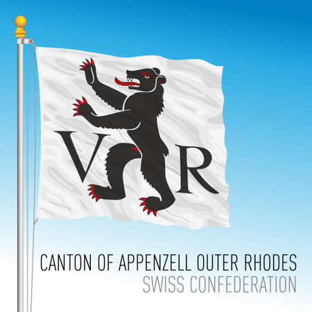 Canton of Appenzell Outher Rhodes, official flag, Switzerland, european country, vector illustration