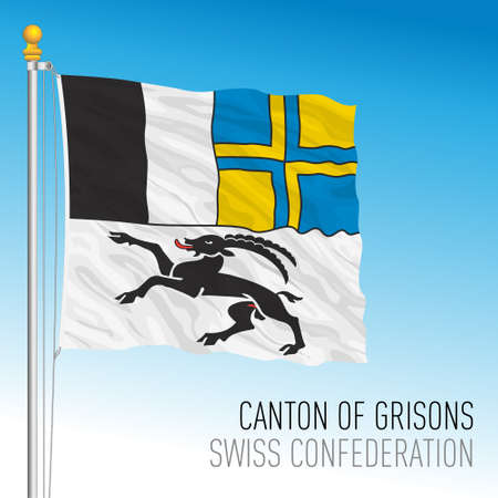 Canton of Grisons, official flag, Switzerland, european country, vector illustration Vettoriali
