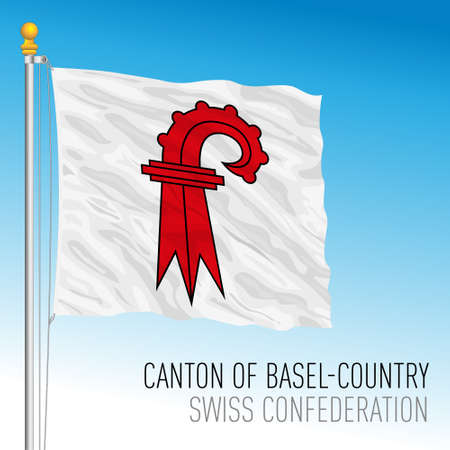 Canton of Basel Country, official flag, Switzerland, european country, vector illustration