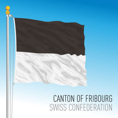 Canton of Friborg, official flag, Switzerland, european country, vector illustration Vettoriali