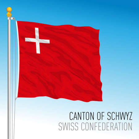Canton of Schwyz, official flag, Switzerland, european country, vector illustration Vettoriali