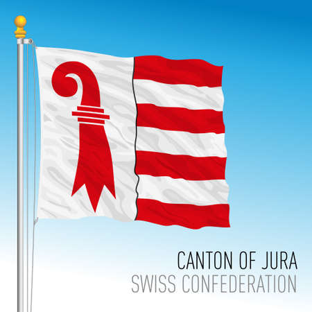 Canton of Jura, official flag, Switzerland, european country, vector illustration