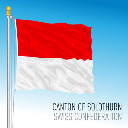 Canton of Solothurn, official flag, Switzerland, european country, vector illustration Vettoriali