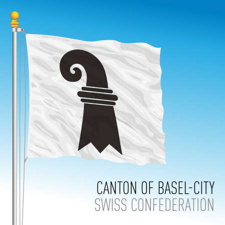 Canton of Basel City, official flag, Switzerland, european country, vector illustration Vettoriali