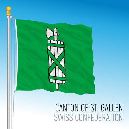 Canton of St. Gallen, official flag, Switzerland, european country, vector illustration