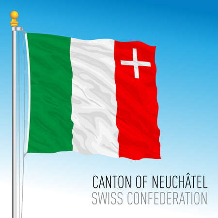 Canton of Neuchatel, official flag, Switzerland, european country, vector illustration