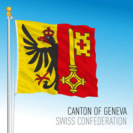 Canton of Geneva, official flag, Switzerland, european country, vector illustration