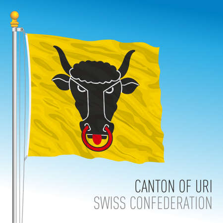 Canton of Uri, official flag, Switzerland, european country, vector illustration