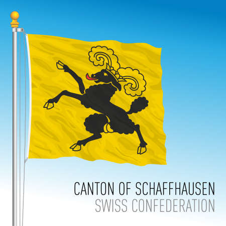 Canton of Schaffhausen, official flag, Switzerland, european country, vector illustration