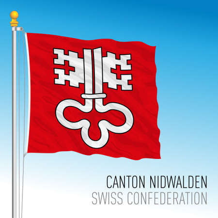 Canton of Nidwalden, official flag, Switzerland, european country, vector illustration
