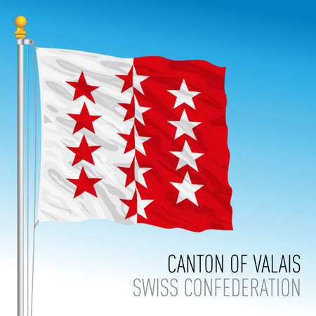Canton of Valais, official flag, Switzerland, european country, vector illustration Vettoriali