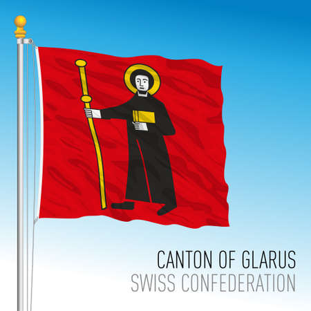 Canton of Glarus, official flag, Switzerland, european country, vector illustration