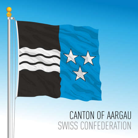 Canton of Aargau, official flag, Switzerland, european country, vector illustration