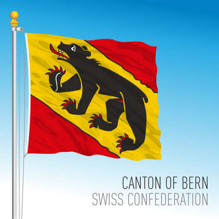 Canton of Bern, official flag, Switzerland, european country, vector illustration