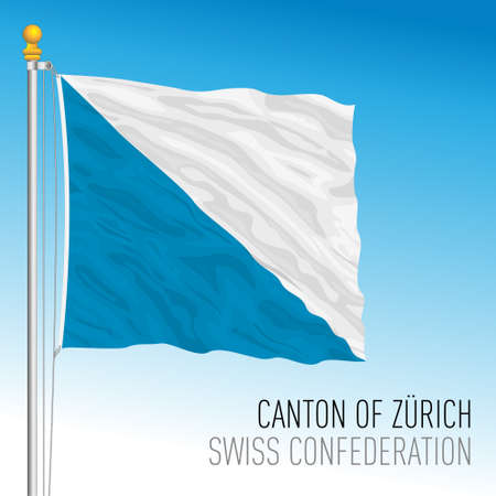 Canton of Zurich, official flag, Switzerland, european country, vector illustration Vettoriali