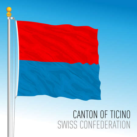 Canton of Ticino, official flag, Switzerland, european country, vector illustration