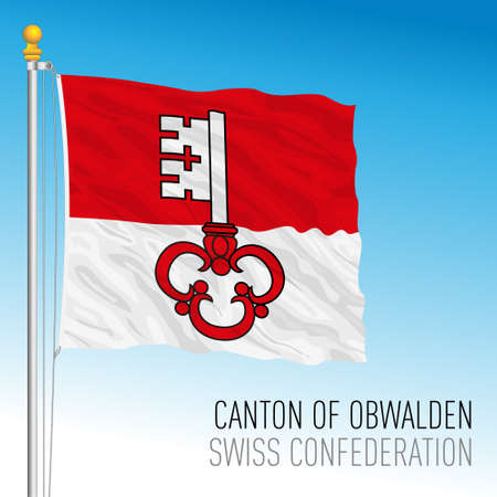 Canton of Obwalden, official flag, Switzerland, european country, vector illustration