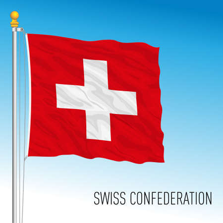 Swiss Confederation, official flag, Switzerland, european country, vector illustration