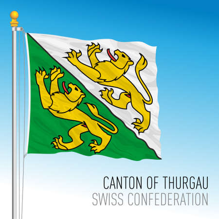 Canton of Thurgau, official flag, Switzerland, european country, vector illustration