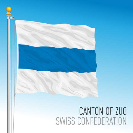 Canton of Zug, official flag, Switzerland, european country, vector illustration