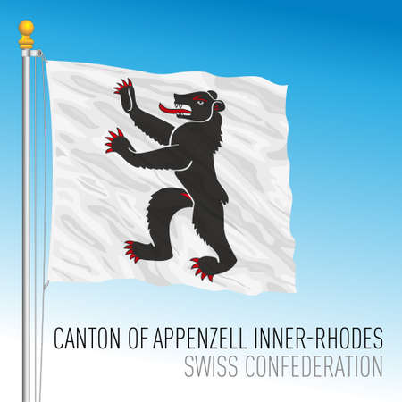 Canton of Appenzell Inner Rhodes, official flag, Switzerland, european country, vector illustration Vettoriali