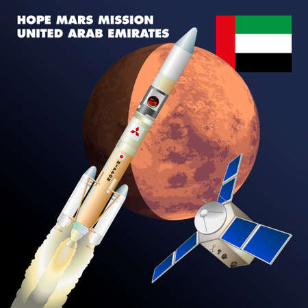Tanegashima, Japan, July 21, 2020 - Launch of the United Arab Emirates space agency's Amal probe for the planet Mars research mission, graphic illustration Editoriali