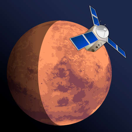 Mars planet exploration, graphic vector illustration